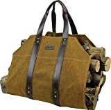 Canvas Firewood Log Carrier Bag, Waxed Durable Wood Tote of Fireplace Stove Accessories, Extra Large...