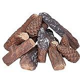 GASPRO 10 Piece Gas Fireplace Logs, Small Size Ceramic Fireplace Logs for All Types Fireplace and...