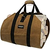 Amagabeli Fireplace Carrier Waxed Firewood Canvas Log Carrier Tote Bag Outdoor Log Tote Large Wood...