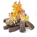 Gas Fireplace Logs,10pcs Large Faux Firepit Logs, Decorative Ceramic Wood Log Set for Indoor Outdoor...