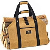 Log Carrier for Firewood Bag - 20oz Waxed Canvas Wood Carriers with Handles for Fireplace - Durable...