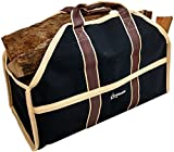Grillinator Ultimate Firewood Log Carrier - Black - Heavy Duty Durable Tote Bag for Wood - Self...