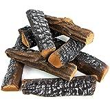Barton Fireplace Decoration Petite Ceramic Wood, Gas Fireplace Log Set, 10 Piece Set